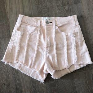 McGuire Blush Pink High Rise Denim Cutoff Shorts